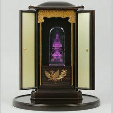 |座釈迦厨子(厨子盆付)と3DクリスタルとLED台座の3点セット|座釈迦|仏像・寺院|記念品.com