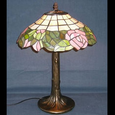 |ガラスの色の配色とバラの花のピンクの配色が抜群!|XZ14-702|ティファニー調|記念品.com