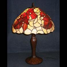 赤く紅葉したカエデが非常に美しいランプです。|サイズ:410φxH580mm 電 球:80Wx1 赤く紅葉したカエデが非常に美...|XZ16-507|ティファニー調|記念品.com