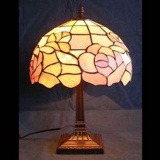 |バラの花をテーマに、玉石(ぎょくせき)を使って作ったランプが心を癒してくれます。 |XZL10-B|ティファニー調|記念品.com