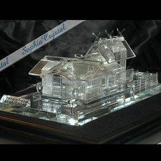 神社のクリスタルオブジェ|かなり複雑な形状で大型のガラスオブジェも可能です。|日本建築物|クリスタルオブジェ|記念品.com