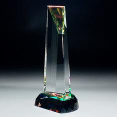 ホログラムシートで七色に輝く!|スタンダードでフォーマルなトロフィーです。卒業表彰や社内表彰、スポーツ表彰などにふさわしい底面のホログラムシートで七色に輝きます!|CR-12|クリスタル盾|記念品.com