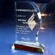 流れるような曲線フォルム。|クリスタル盾|702|社内表彰、優秀者表彰、社内表彰など幅広いニーズに対応、流れるような上品なフォルムが特徴の表彰用2Dクリスタルトロフィーです。