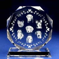 ペットの写真をガラスの中に入れられる!|ペットの記念品|W8-2d-a|ペットの写真がガラスの中に入れられる!どんなに磨いても文字や写真が消えることはありません!
