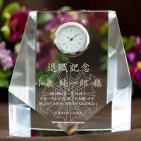 ロゴマークを大きく入れて名入れもしたい。|クリスタル時計|DT-7レーザー|・消防署の退職記念や青年会議所の卒業記念品に人気です!