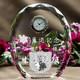 ずっしりとした重量感の表彰用クリスタル時計。|クリスタル時計|DT-11レーザー|上品な楕円カットのクリスタル時計・大きめのサイズで重厚感と存在感も十分!表彰用品として、また資格、ライセンス認定証的な記念の置物などにも最適。