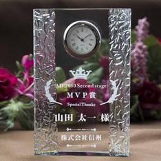 社内表彰や永年勤続表彰にも|信頼のSEIKO製クォーツ時計を使用|DT-15レーザー|クリスタル時計|記念品.com